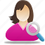 female, girl, search, student, user icon