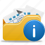 folder, folder info, info, open, open folder icon