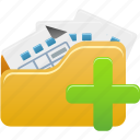 add, files, folder, open, to icon