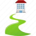 direct, home, house, real estate, walkway, way icon