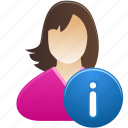 female, girl, info, student, user, woman icon
