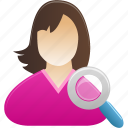 female, girl, search, student, user, woman icon