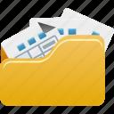 files, folder, full, open icon