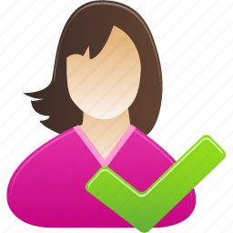accept, check, female, girl, student, user, woman icon