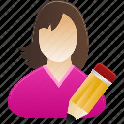 Edit Female Girl Student User Woman Icon