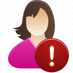 female, girl, student, user, warning, woman icon