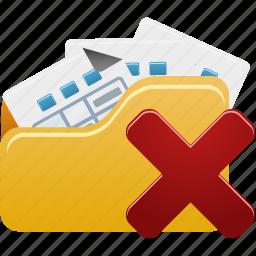 delete, files, folder, open icon