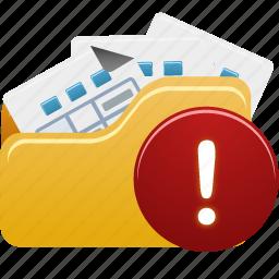 files, folder, open, warning icon