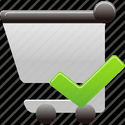 accept, cart, check, shopping, shopping cart icon