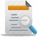 analysis, document, file, search icon