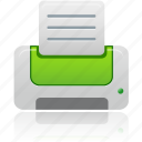 document, documents, file, green, paper, printer icon