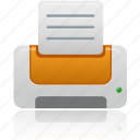 document, documents, orange, paper, print, printer icon