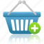 add, basket, business, buy, cart, ecommerce, plus, shopping, webshop icon