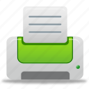 printer, green, print, paper, document, file, text, documents icon