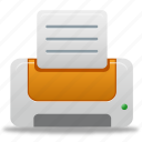 document, file, orange, print, printer icon