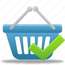 basket, shopping, accept, buy, ecommerce, cart, check, business icon