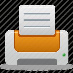 document, file, orange, print, printer icon