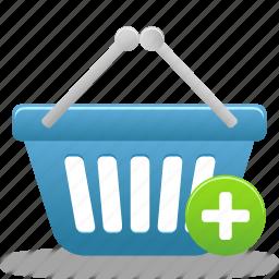 add, basket, business, buy, cart, ecommerce, plus, shopping, webshop icon
