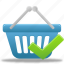 accept, basket, business, buy, cart, check, ecommerce, shopping icon