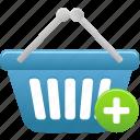 add, basket, shopping icon