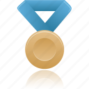 award, blue, bronze, metal, prize, winner icon