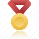 award, gold, metal, prize, red, winner icon