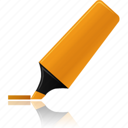 highlight, highlightmarker, marker, orange icon