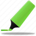 edit, green, highlight, highlightmarker, marker, pen, pencil, write icon