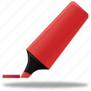 edit, highlight, highlightmarker, marker, pen, pencil, red, write icon