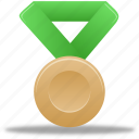 award, bronze, green, metal, prize, reward, winner icon