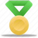 award, gold, green, metal, prize, winner icon