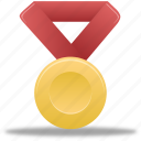 award, gold, metal, prize, red, reward, winner icon