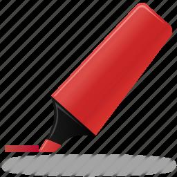 edit, highlight, highlightmarker, marker, pen, pencil, red, write icon