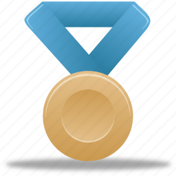 award, blue, bronze, metal, prize, reward, winner icon
