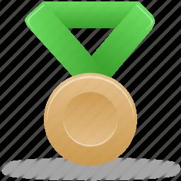 award, bronze, green, metal, prize, reward, winner icon