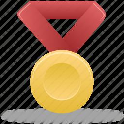 award, gold, metal, prize, red, reward, winner icon