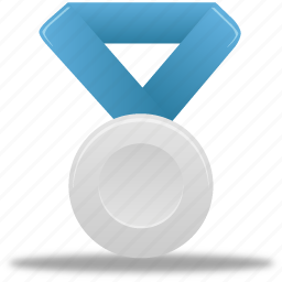 award, blue, metal, prize, reward, silver, winner icon