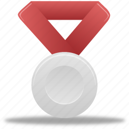 award, metal, prize, red, reward, silver, winner icon