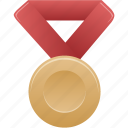 award, bronze, metal, prize, red, winner icon