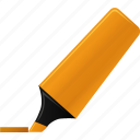 edit, highlight, highlightmarker, marker, orange, sign, signature icon
