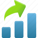 arrow, bar, chart, charts, diagram, graph, increase, report, rise, statistics, up icon