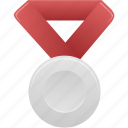 award, metal, prize, red, silver, winner icon