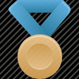 award, blue, bronze, metal, prize, winner icon