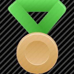 award, bronze, green, metal, prize, sport, winner icon