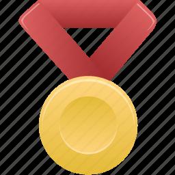 award, gold, metal, prize, red, winner icon
