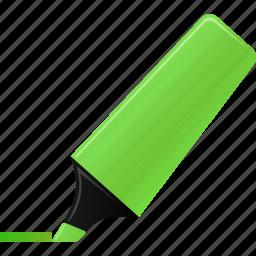 edit, green, highlight, highlightmarker, marker, sign, signature icon