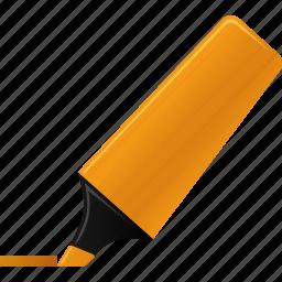 edit, highlight, highlightmarker, marker, orange, sign, signature icon