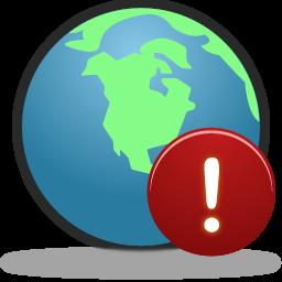 globe, warning icon