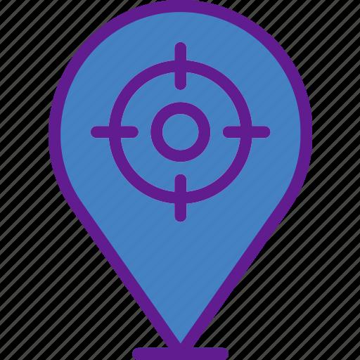 app, communication, file, interaction, pin, target icon