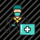 doctor, emergency, healthcare, man, quarantine, suitcase